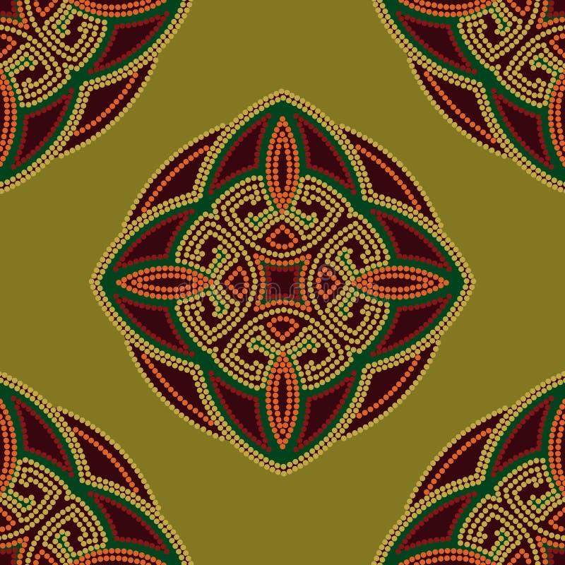 Fond sans couture ethnique coloré de modèle en vert et Bourgogne, couleurs oranges illustration stock