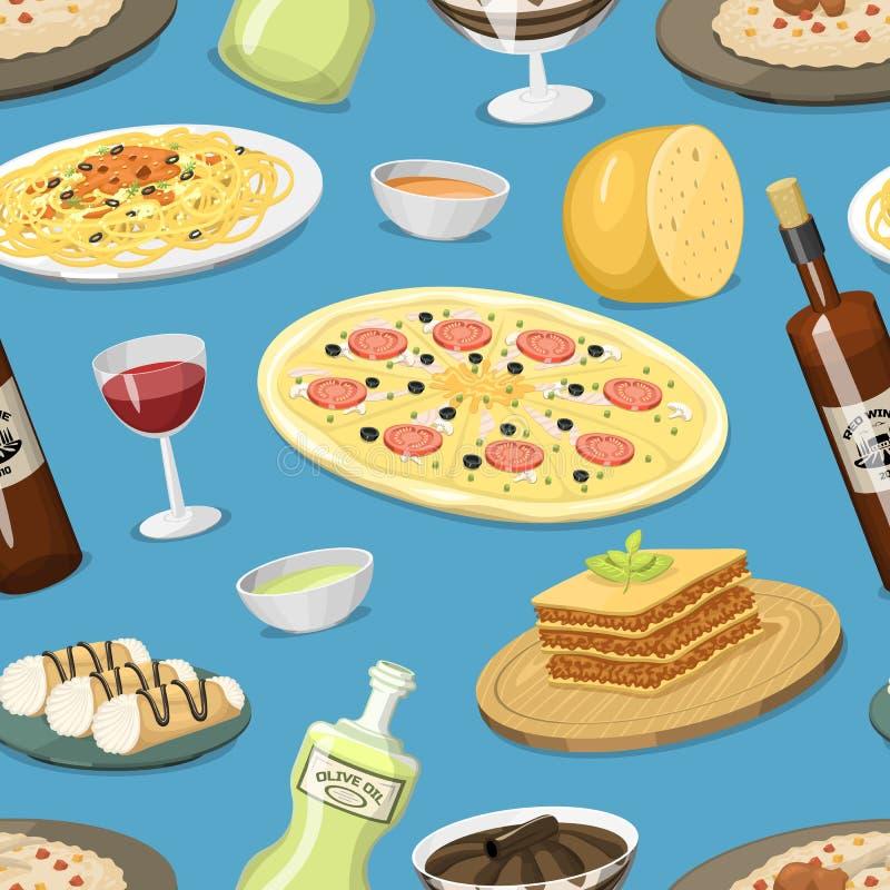 Fond sans couture fait maison de modèle de cuisine de nourriture de l'Italie de bande dessinée faisant cuire le vecteur italien t illustration libre de droits