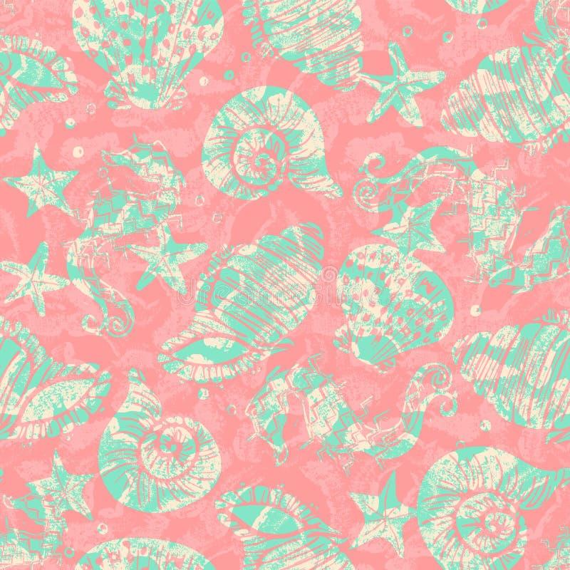 Fond sans couture fleuri vert et rose de modèle d'hippocampe, d'étoiles de mer et de coquillage avec le recouvrement de texture d illustration stock