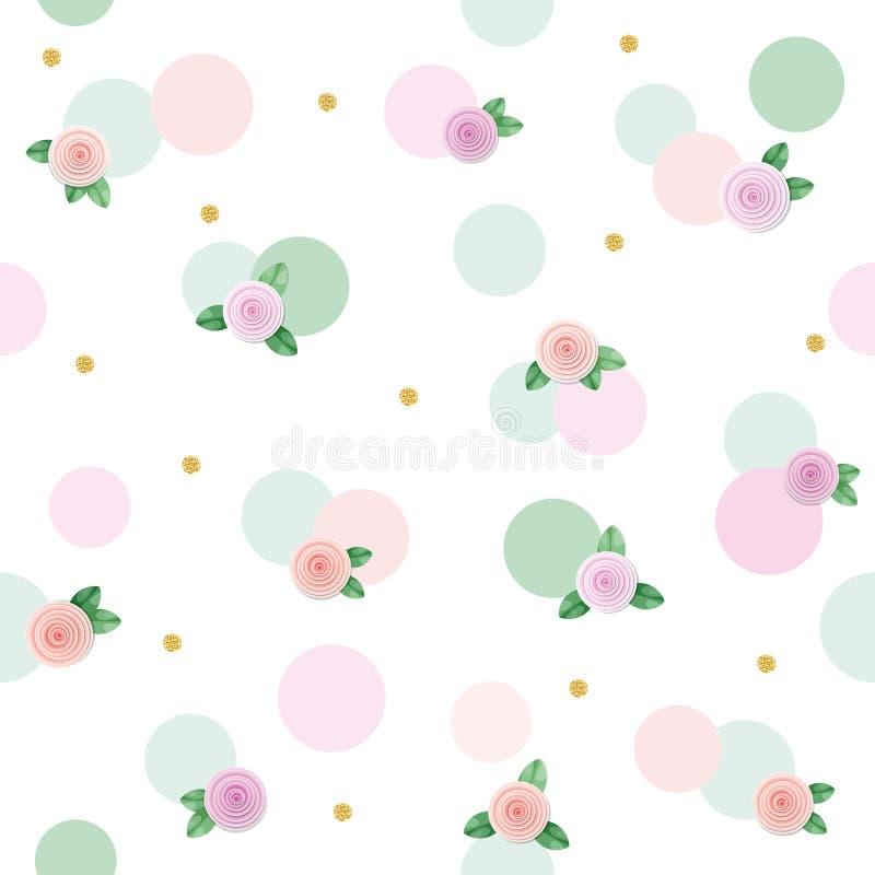 Fond sans couture floral de modèle avec des roses et des points de polka Rose et couleurs à la mode vertes en pastel Pour l'anniv illustration de vecteur