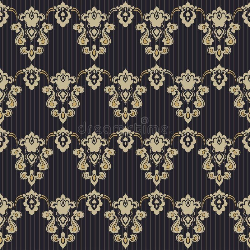 Fond sans couture floral de modèle de vintage de damassé illustration stock