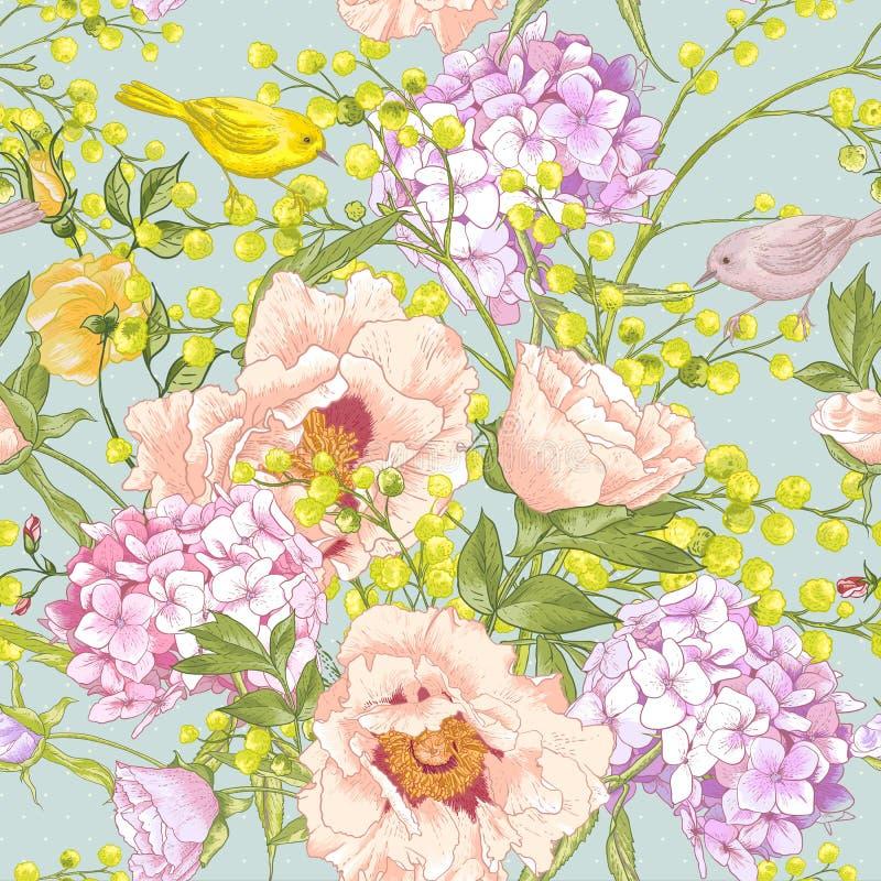Fond sans couture floral de ressort doux illustration stock