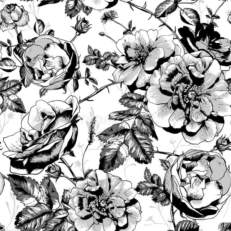 Fond sans couture floral noir et blanc illustration de vecteur