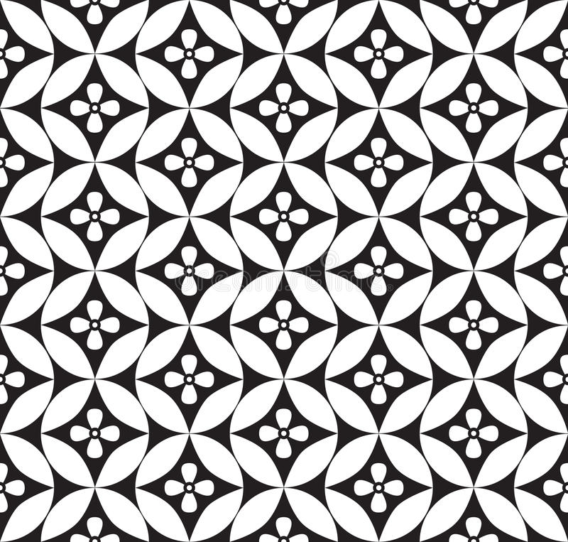 Fond sans couture floral. Texture sans couture géométrique florale blanche et noire abstraite illustration de vecteur