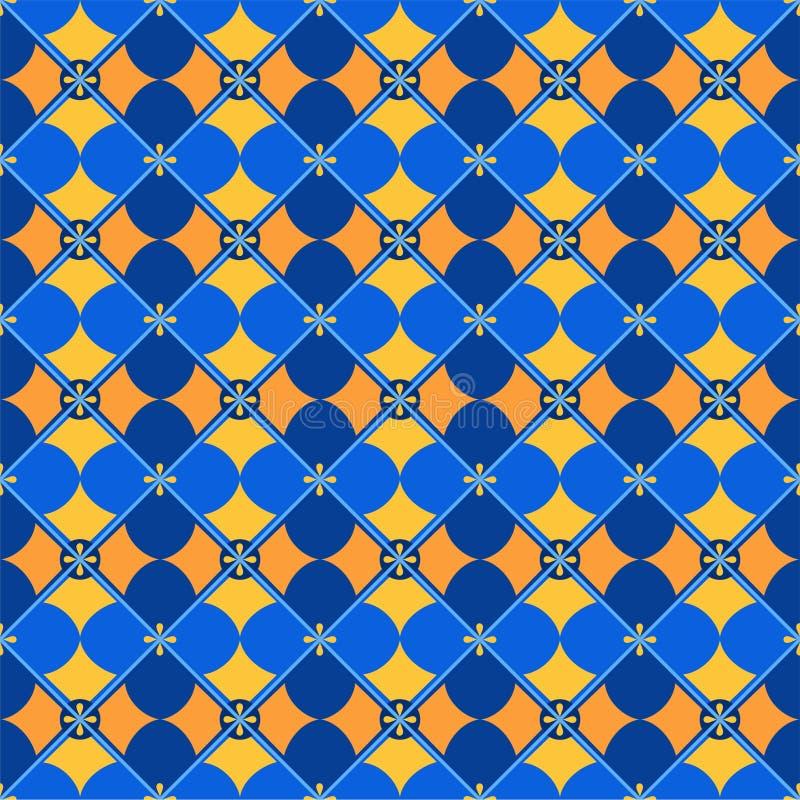 Fond sans couture, géométrique, pétales, bleu jaune illustration libre de droits