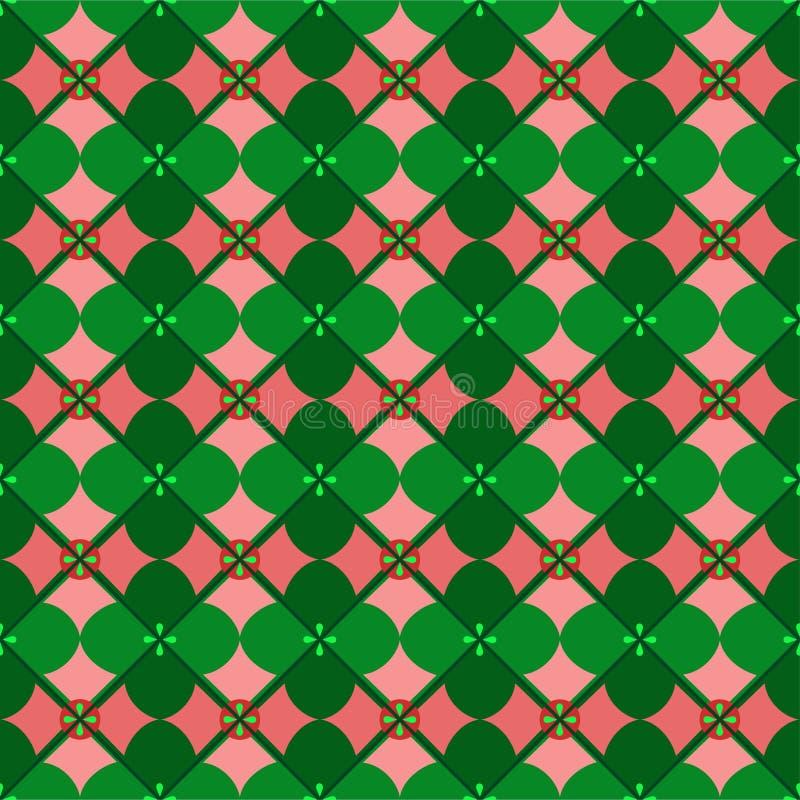 Fond sans couture, géométrique, pétales, verts illustration stock