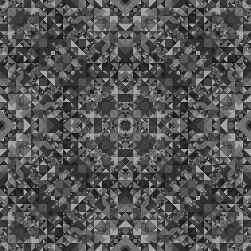 Fond sans couture gris de modèle de kaléidoscope - papier peint tribal de vecteur de résumé illustration de vecteur