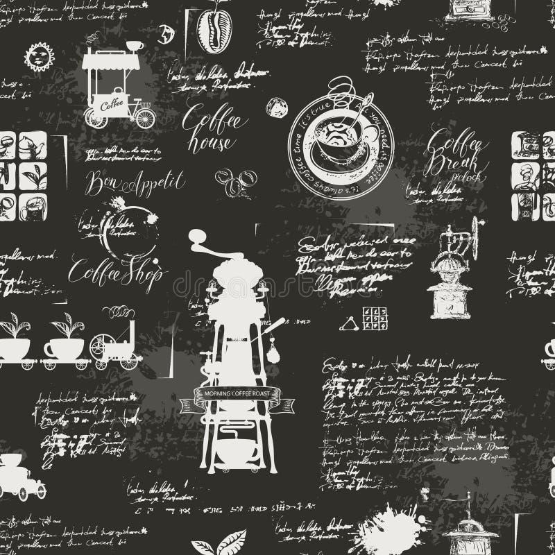 Fond sans couture grunge sur le thème de café illustration de vecteur
