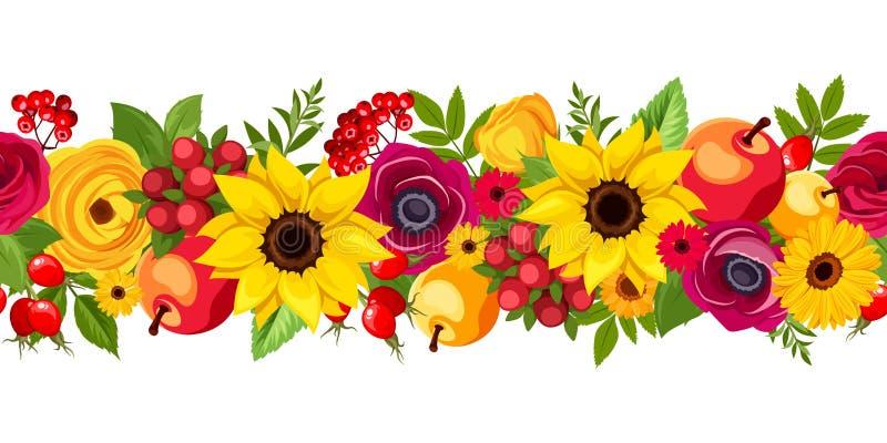Fond sans couture horizontal avec des fleurs d'automne Illustration de vecteur illustration de vecteur