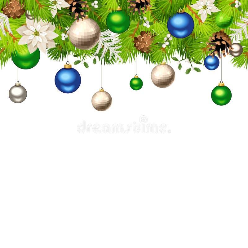 Fond sans couture horizontal de Noël avec des branches de sapin, des boules, des fleurs de poinsettia et des cônes Illustration d illustration stock