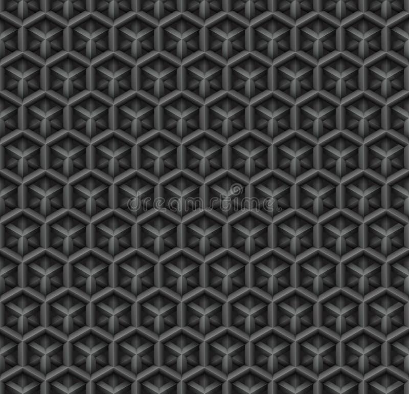 fond sans couture industriel de vecteur de modèle du diamant 3d noir illustration libre de droits