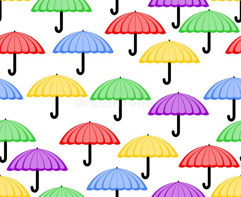 Fond sans couture mignon avec des parapluies en rouge, jaune, vert, le pourpre et le bleu Modèles gais pour le textile ou le papi illustration libre de droits