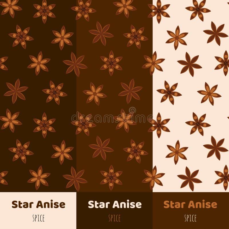 Fond sans couture Modèle avec des étoiles d'anis Badian empaquetage illustration libre de droits