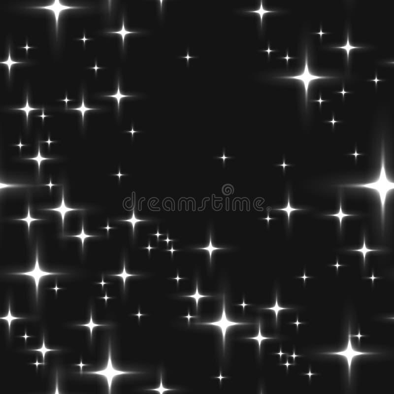 Fond sans couture monochromatique avec les étoiles brillantes illustration de vecteur