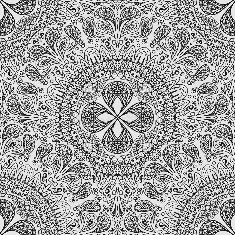 Fond sans couture noir et blanc de dentelle Modèle des serviettes de dentelle dans un style primitif illustration libre de droits