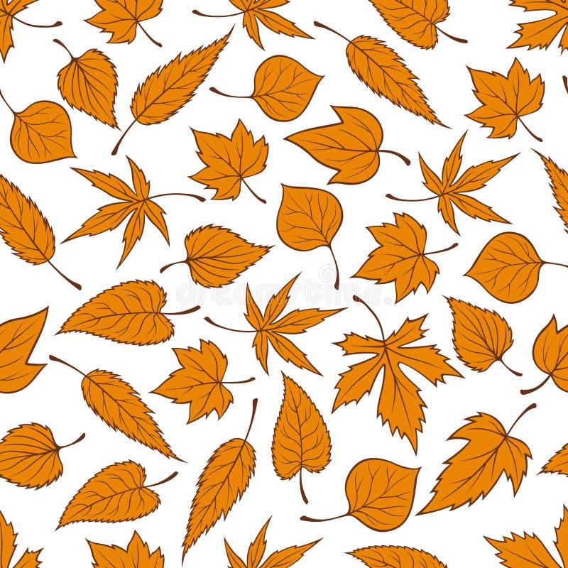 Fond sans couture orange de modèle de feuilles d'automne illustration libre de droits