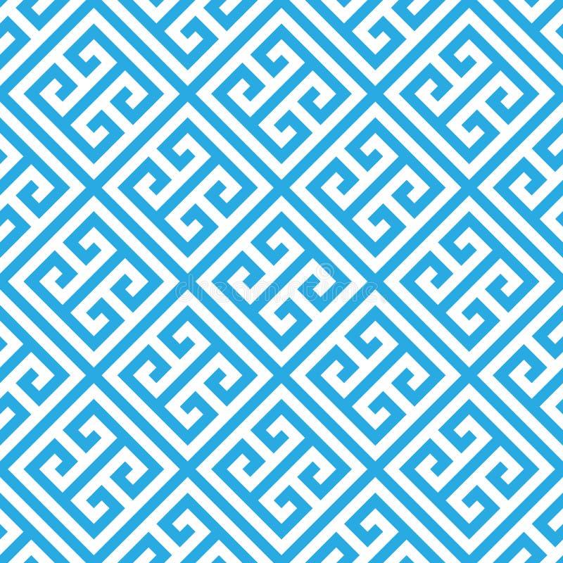 Fond sans couture principal grec de modèle dans bleu et blanc Vintage et rétro conception ornementale abstraite Appartement simpl illustration libre de droits