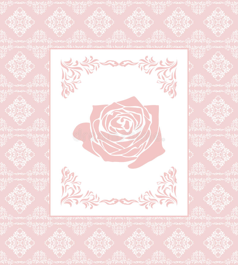 fond sans couture rose ornemental avec le cadre carte de voeux illustration de vecteur. Black Bedroom Furniture Sets. Home Design Ideas