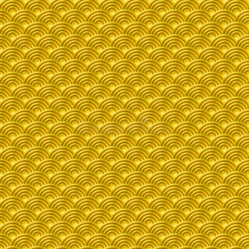 Fond sans couture simple sans couture chinois de nature de modèle d'échelles de poissons de dragon de modèle d'or jaune avec le b illustration stock