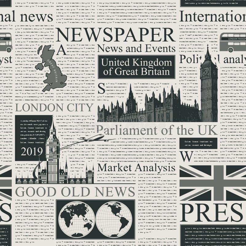 Fond sans couture sur le thème du R-U et de Londres illustration stock