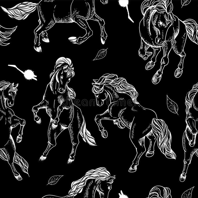 Fond sans couture tiré par la main avec le cheval illustration stock