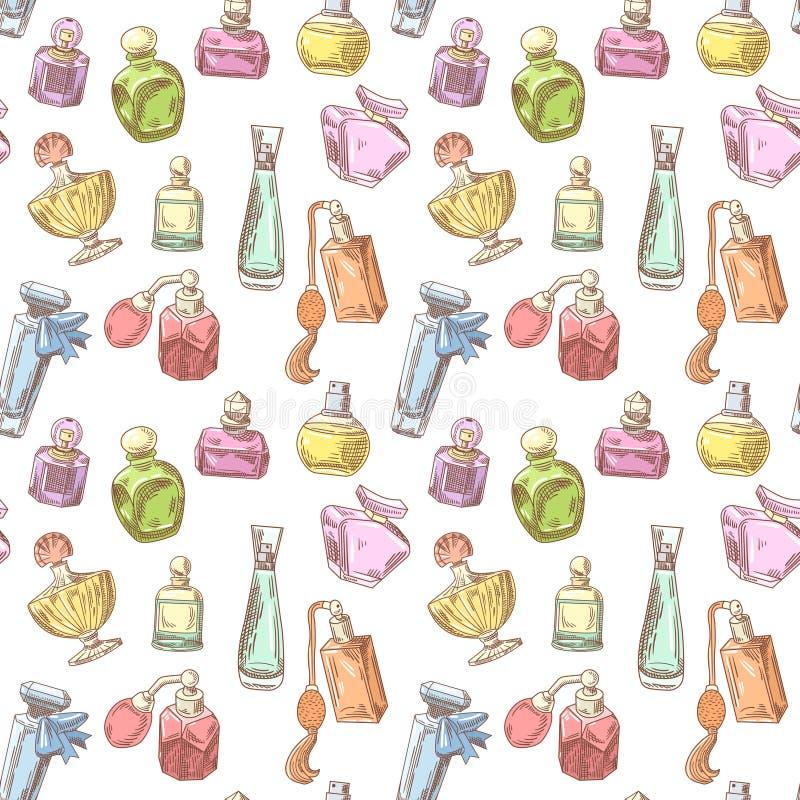 Fond sans couture tiré par la main de bouteilles de parfum Modèle français d'arome Conception de boutique de beauté de femme illustration libre de droits