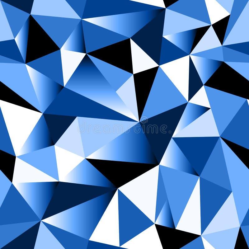 Fond sans couture triangulaire fripé géométrique de gradient bleu abstrait illustration de vecteur