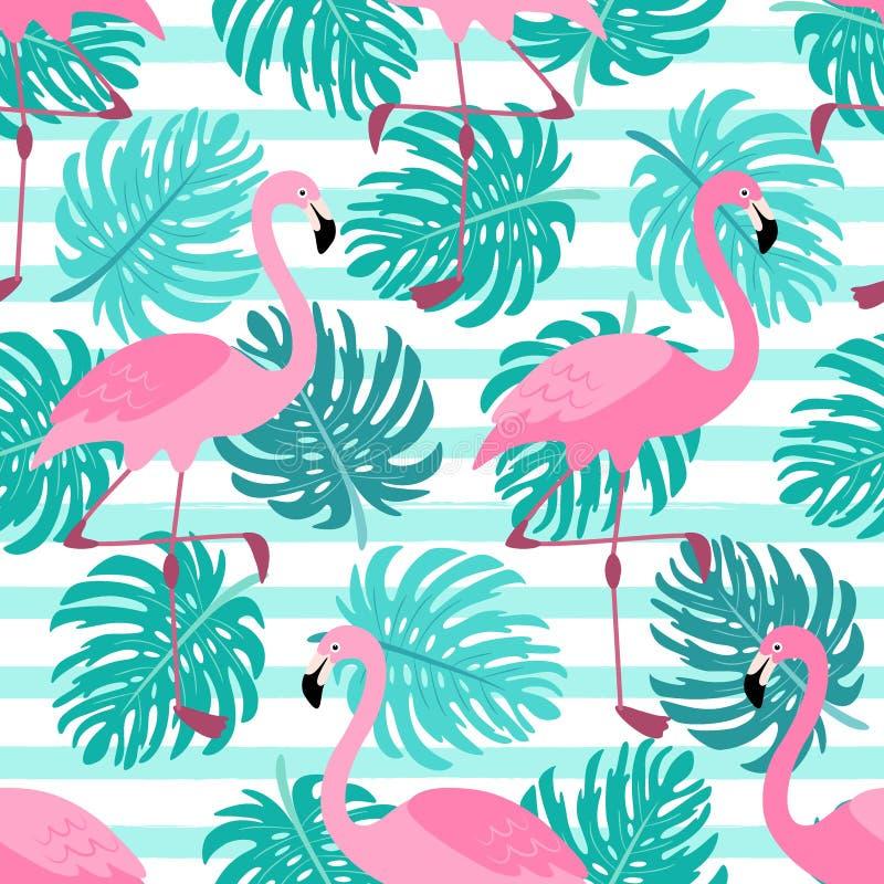Fond sans couture tropical exotique mignon avec des personnages de dessin animé des flamants roses illustration libre de droits