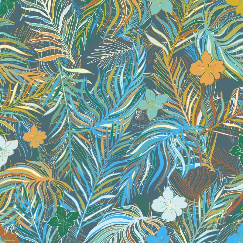 Fond sans couture tropical tiré par la main avec des feuilles de banane et E illustration libre de droits