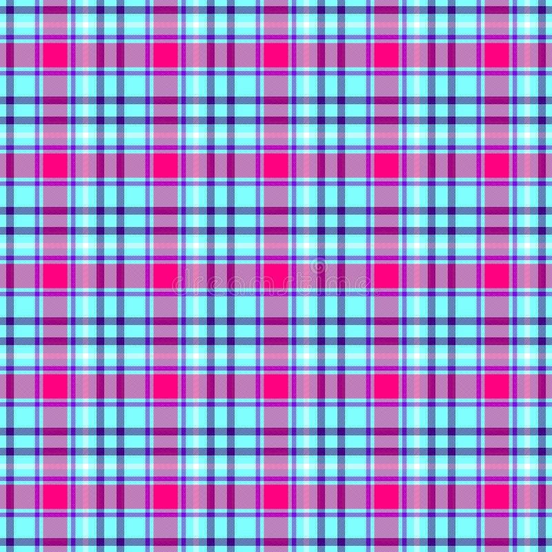 Fond sans couture vérifié de texture de modèle de tissu écossais de plaid de tartan de diamant - magenta de roses indien de bleus illustration libre de droits