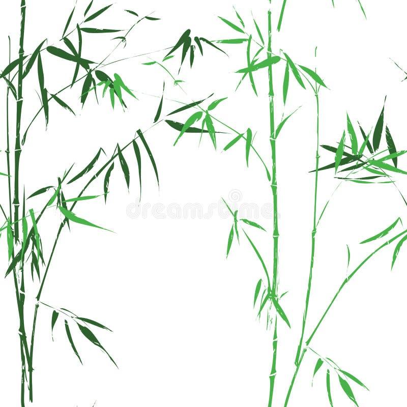Fond sans couture vert asiatique oirental en bambou de vecteur de modèle illustration de vecteur