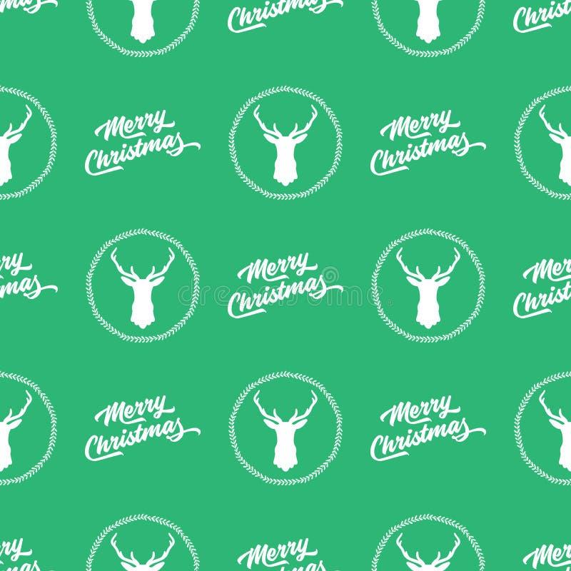 Fond sans couture vert de modèle de Joyeux Noël illustration libre de droits