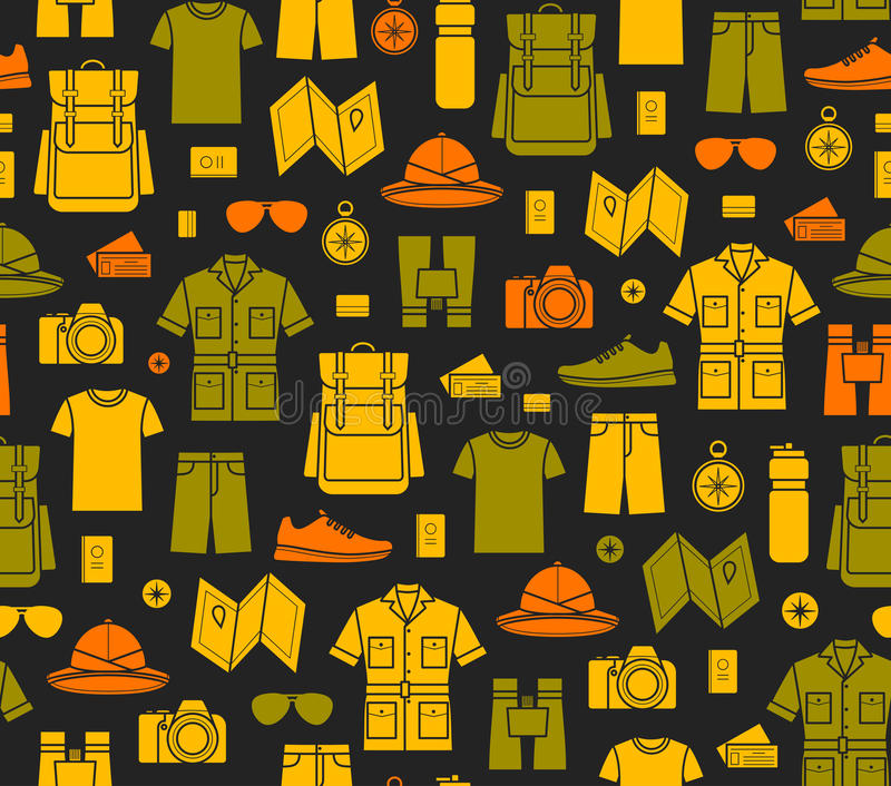 Fond sans fin d'icônes de safari illustration stock