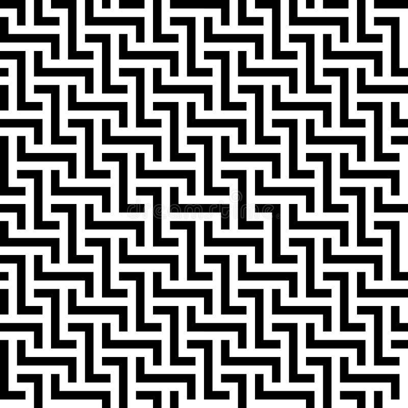 Fond sans joint abstrait de configuration Labyrinthe des éléments noirs de dessin géométrique d'isolement sur le fond blanc Vecte illustration libre de droits