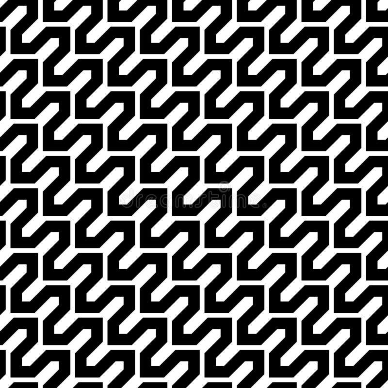 Fond sans joint abstrait de configuration Labyrinthe des éléments noirs de dessin géométrique d'isolement sur le fond blanc Vecte illustration de vecteur