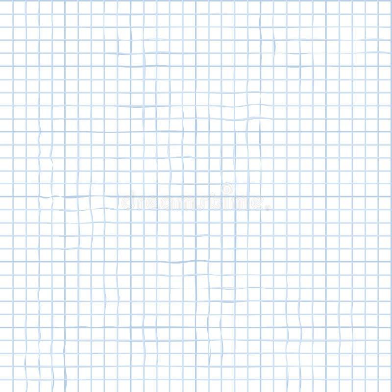 Fond sans joint abstrait de vecteur Collection d'école Ligne incurvée Modèle de papier de carnet blanc illustration stock
