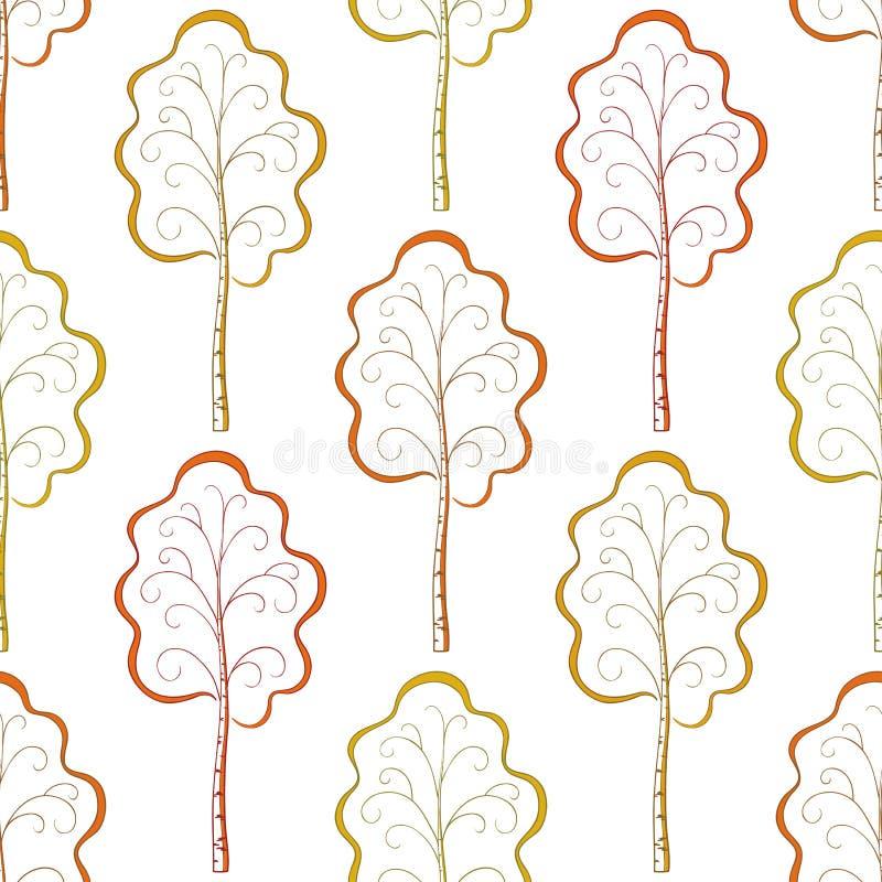 Fond sans joint, arbres d'automne illustration de vecteur