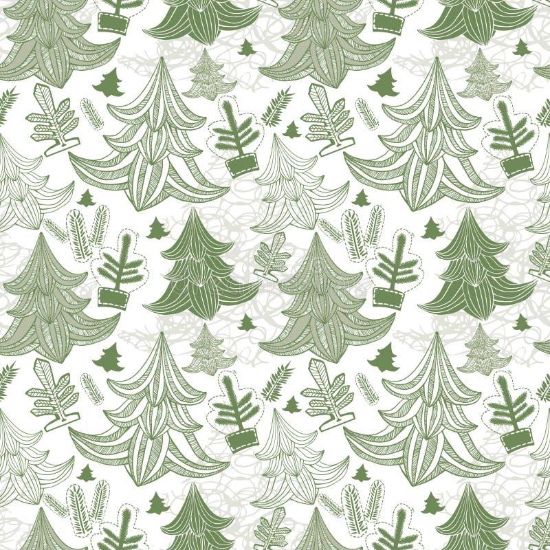 Fond sans joint avec des arbres de Noël illustration de vecteur
