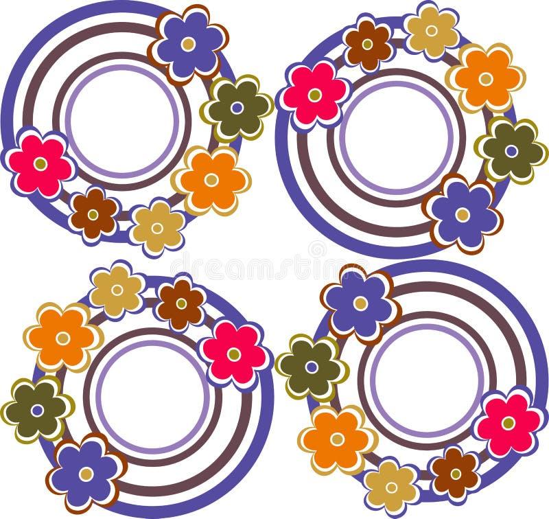 Fond sans joint avec des cercles dans le rétro type illustration de vecteur