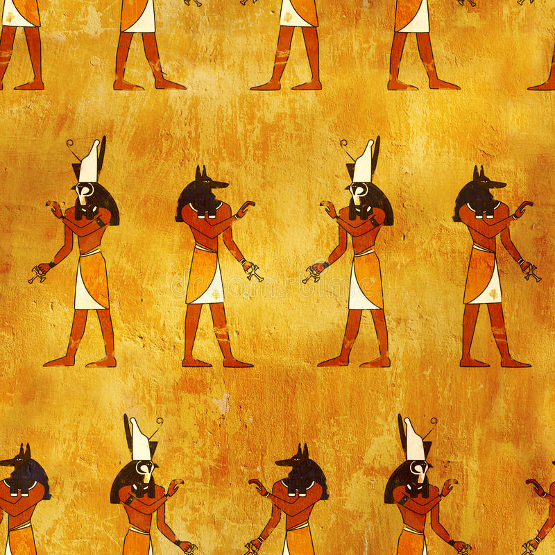 Fond sans joint avec des images égyptiennes de dieux illustration de vecteur