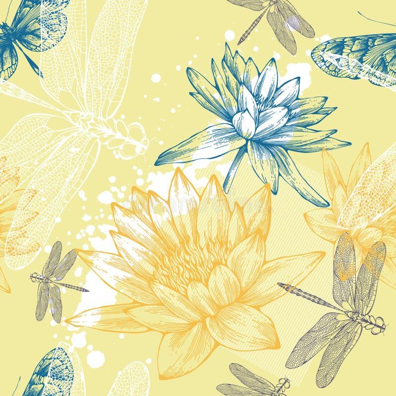 Fond sans joint avec des lis d'eau, libellules illustration stock
