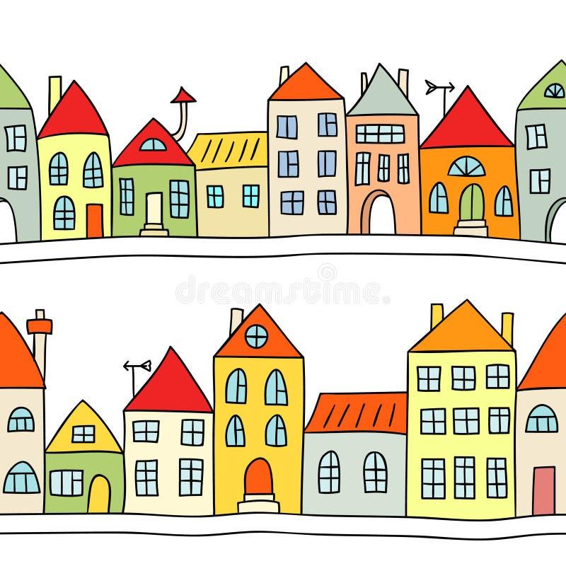 Fond sans joint avec des maisons illustration stock