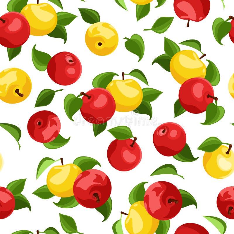 Fond sans joint avec des pommes et des lames. illustration de vecteur