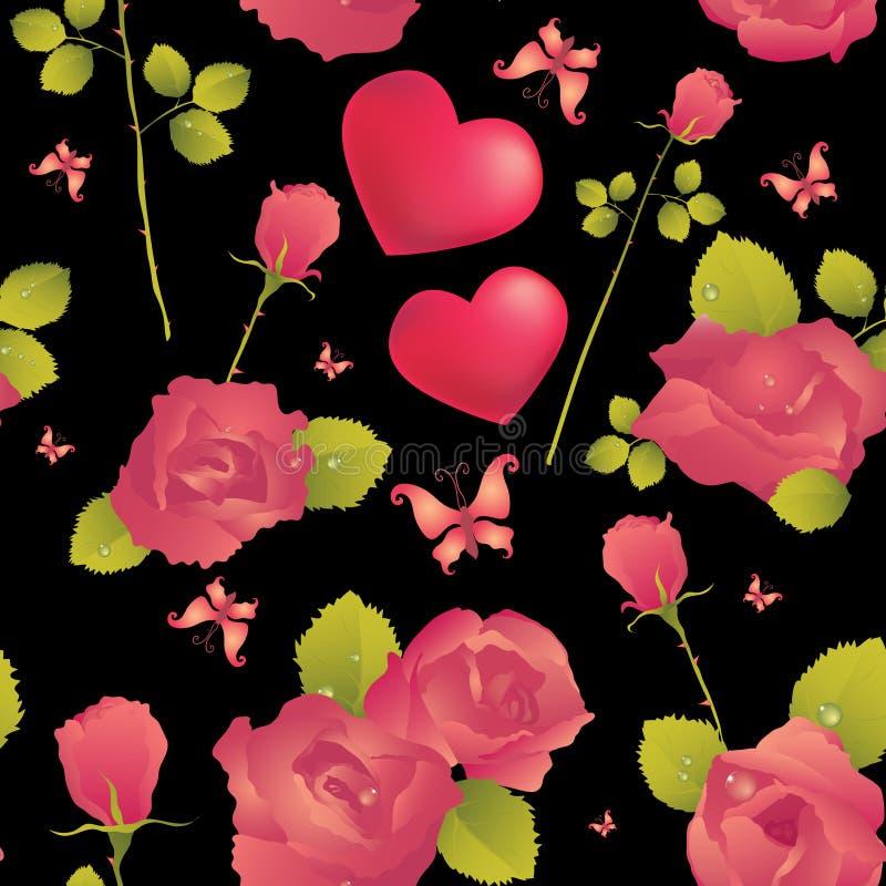 Fond sans joint avec des roses illustration stock