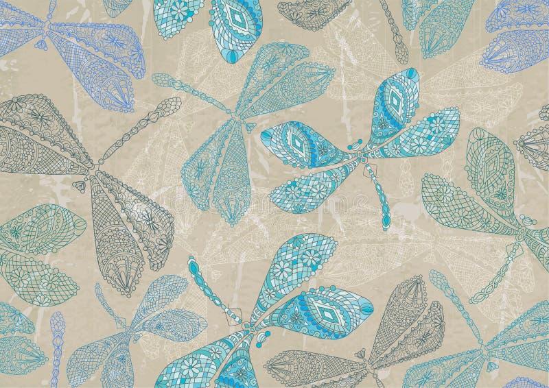 Fond sans joint avec la libellule bleue illustration stock