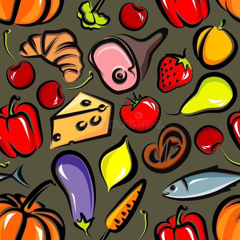 Fond sans joint avec la nourriture illustration libre de droits