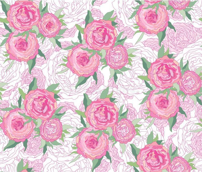 Fond sans joint avec les fleurs blanches et roses illustration de vecteur