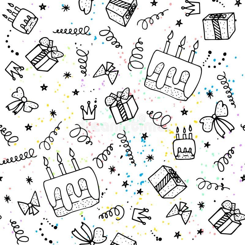 Download Fond Sans Joint D'anniversaire Illustration de Vecteur - Illustration du amusement, confettis: 76078117