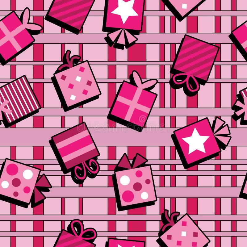Fond sans joint de cadeaux roses illustration stock