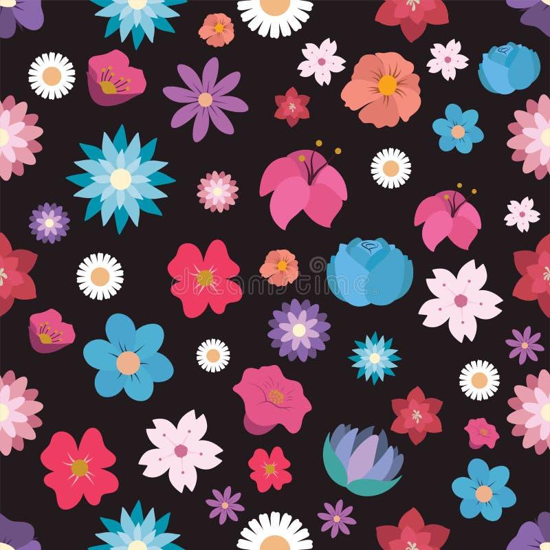 Fond sans joint de configuration avec des fleurs illustration stock